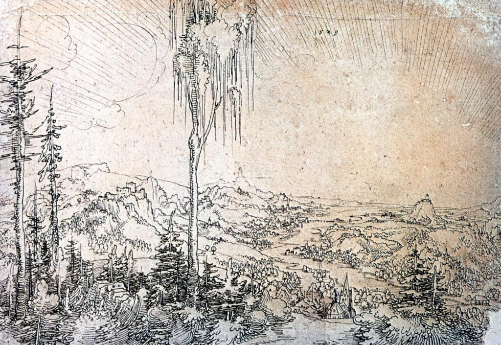 Wolf Huber (1485–1553) | Donaulandschaft bei Krems, Federzeichnung 1529 | Kupferstichkabinett Berlin